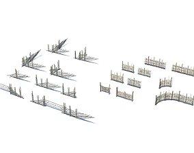3D model Modular medieval wooden fence pack
