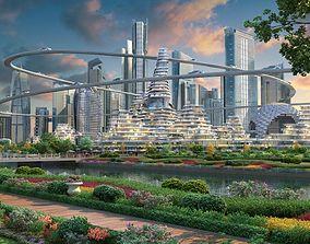3D model Future city 02