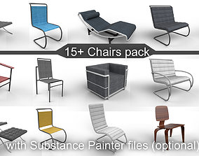 3D model 15 plus Chairs pack with Substance painter files