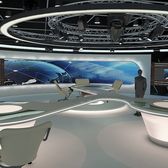 Virtual TV Studio News Set 28. 3d Rendering.