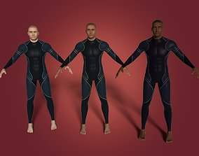 3D African European and Arab Swimmer - Surfer
