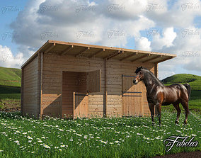 Stables grass and horse 3D model