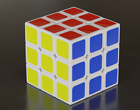 3D model low-poly Rubiks Cube