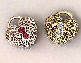 3D print model Wireframe Flowers Heart Padlock Charm