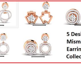 gold 5 Earrings in Earrings 3dm stl renders details