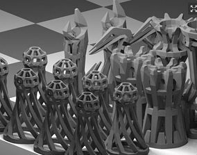 3D print model Wireframe Chess Eet