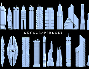 Sci-Fi SkyScraper Set Low Poly 3D model