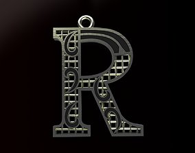Alphabet Pendant 3D print model typography
