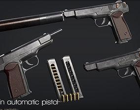 APS -Stechkin Automatic Pistol - FPS ready - Mid 3D model