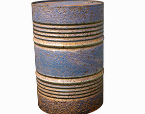rusty metal barrel blue 3D asset