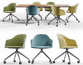 Arper CILA ARMCHAIR TRESTLE FIXED and MEETY Wood Table 3D
