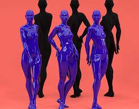 3 piece Feminine Female Fashion Mannequin set 3D model