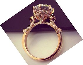 3D printable model 0 15 ct center stone ring