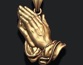 Praying Hands Pendant Necklace bas-relief 3D print model