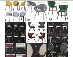 3D asset low-poly Chair collection 10 Pieces seat