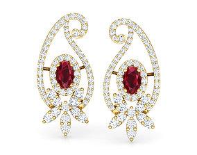 3D print model jewel Paisley Petals Stud Earrings