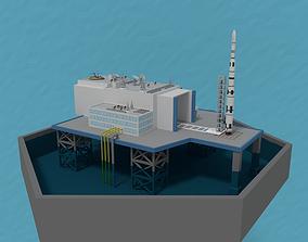 3D asset LowPoly OffShore Rocket Launch Platform plus