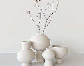 brushed ceramic vase with a branch 3D model
