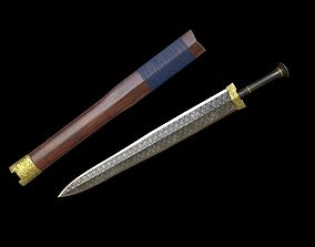Fantasy Ancient Chinese Sword 3D asset low-poly