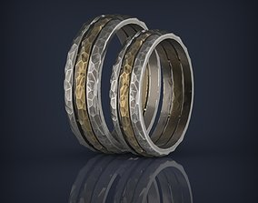 Forged hammered faceted combined wedding bands 3D print 1