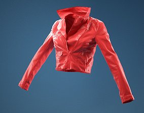 art Half Open Leather Jacket 3D model