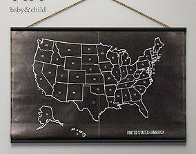 3D model rope USA CHALKBOARD MAP