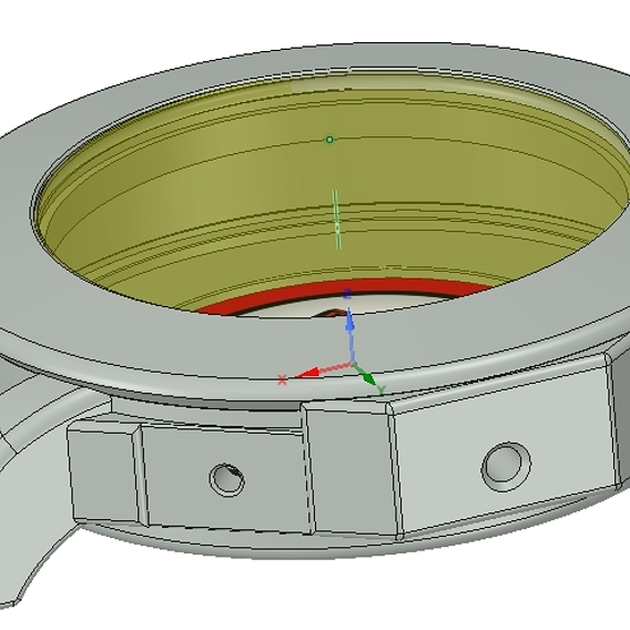 The prototype case of the wristwatch and the shape of the glass