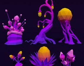 LowPoly Alien Plants Pack 3D model VR / AR ready