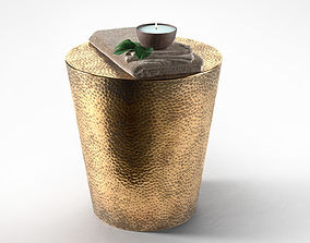 3D Izmir Hammered Side Table with Towel and Candle