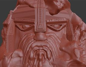 Dwarf statue carved into the rock 3D print model