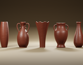 3D model Clay jugs - five items ready for subdivide Part 2