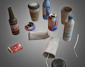 3D asset Trash Set 1 - PBR Game Ready