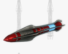 3D asset Missile 5 sci-fi low poly