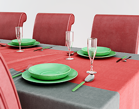 3D asset Restaurant table and chairs