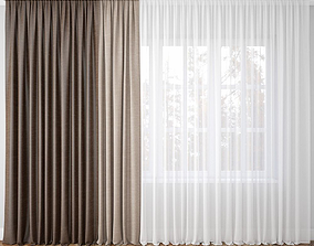 3D model Curtain brown