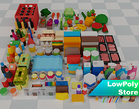 3D model Low Poly Supermarket Set