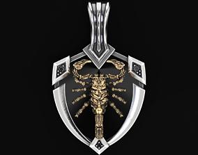 Stylish pendant shield and scorpion 505 3D print model