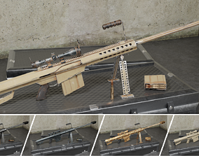 M82 Barrett Game Ready 5 Textures Low-poly 3D game-ready 1