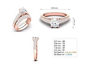3D printable model diamond solitaire rings