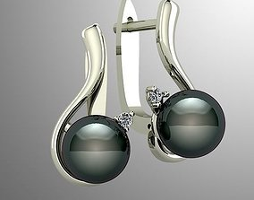Pearl earrings with diamonds 3D print model