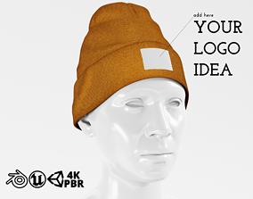 3D model Beanie Hat Cap Winter - Brown PBR