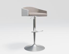 elegant club chair - beige fabric - light wood 3D asset