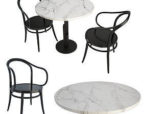 Black and white table and chairs 3D model