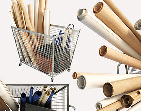 decoration 3D model iron basket with paper