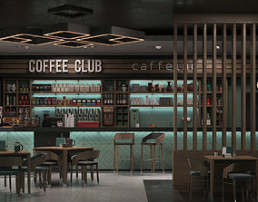 Coffee shop interior scene 3D model