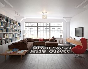 3D Modern Living Room With Bookcase