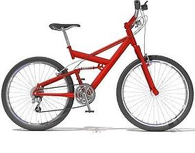 3D model Bright Red Mountain Bike 01