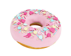 3D Pink glazed donut with hearts