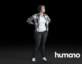3D HumanoWoman Standing ans looking 0514