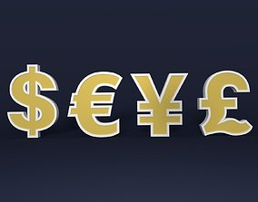 Currency Signs 3D asset game-ready